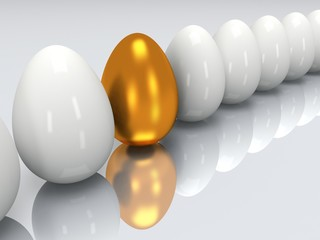 Golden egg in a row of the white eggs. 3D.