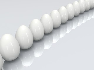 Row of the white eggs. 3D.