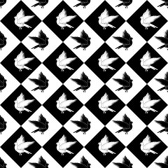 Design seamless monochrome diamond pattern with a silhouette of