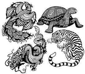four celestial animals black white