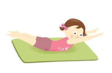 Girl exercising on mat