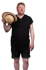 Hot middle aged man in straw hat