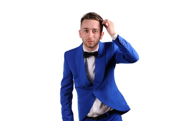 Funny man in blue suite with on white background