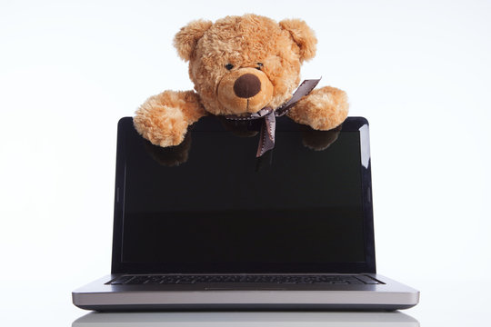Fluffy toy bear and a laptop