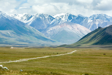 Fototapete - Dirt road in majestic Tien Shan mountains