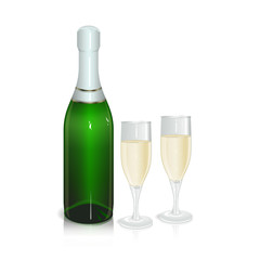 bottle of sparkling wine with two glasses