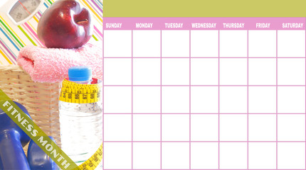 Exercise and nutrition day by day calendar template
