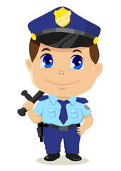 Cute cartoon illustration of a policeman