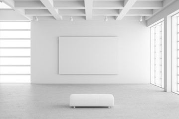 Empty exhibition hall with empty frame