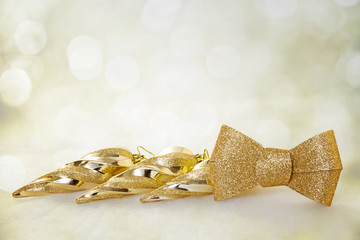 Christmas background with golden icicles