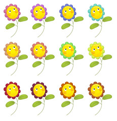 Cartoon flowers isolated - illustration for the children