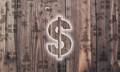 wooden Dollar symbol with presents