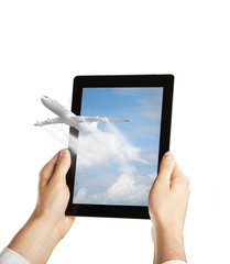 Wall Mural - tablet with airplane