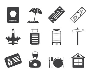 Silhouette Travel, Holiday and Trip Icons -  Vector Icon Set