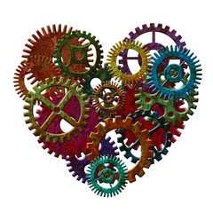 Rusty Metal Gears Forming Heart Shape Illustration