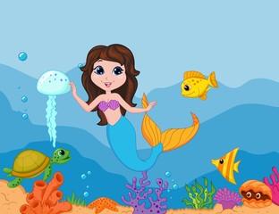 Cute mermaid cartoon waving hand
