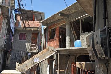Houses of Brazilian favela  in Rio de Janeiro
