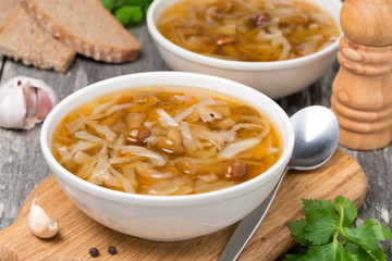 Russian cabbage soup with wild mushrooms