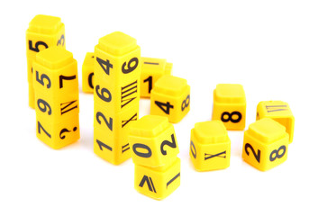 Educational cubes with different numbers isolated on white