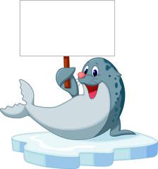 Cute seal cartoon holding blank sign