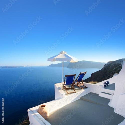 Fototapete Grèce - Santorin (Terrasse à Oia)