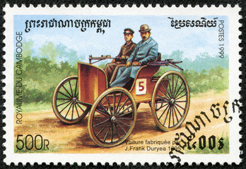 stamp printed in Cambodia, shows retro car