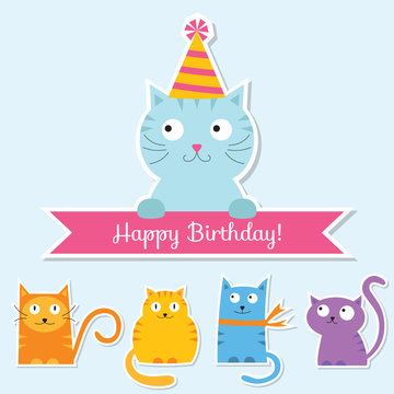 Birthday cats set