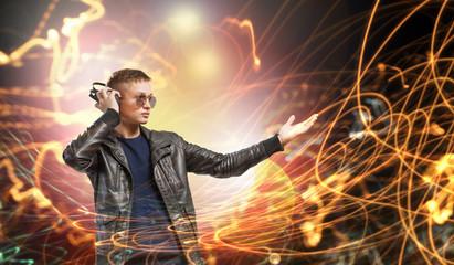 Rock musician wearing headphones