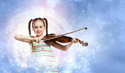 Wall Mural - Girl playing violin