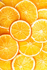 Slices of orange, close up.