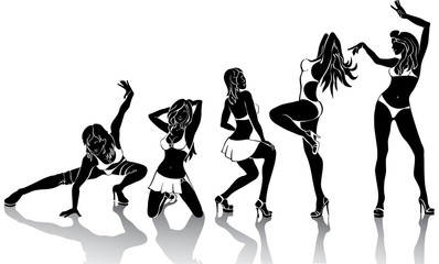 Several girl are dancing.Silhouettes on a white background.