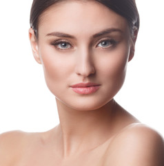 Beautiful Woman Portrait.Clear Fresh Skin.Isolated on a White