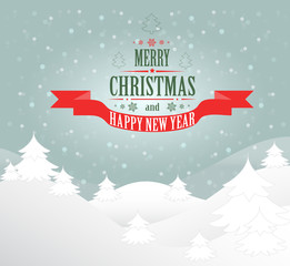 Merry Christmas greeting card Landscape. Vector