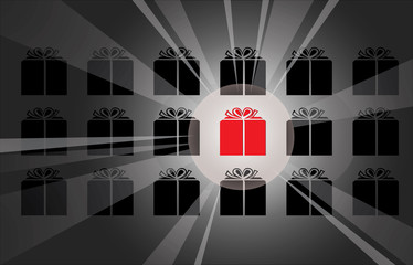 single red giftbox with spotlight to illustrate best gift