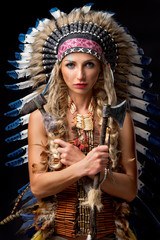 Beautiful woman in native american costume