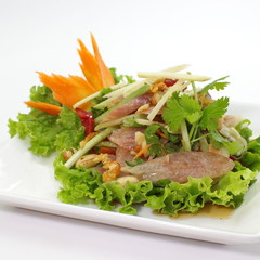 Spicy salad with ferment sausage or sour pork