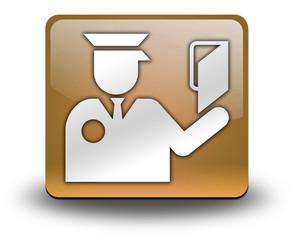 "Orange 3D Effect Icon ""Immigration Symbol"""