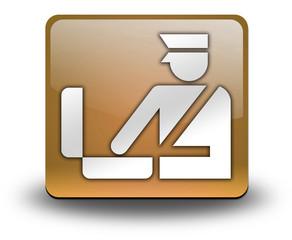 """Orange 3D Effect Icon """"Customs Symbol"""""""