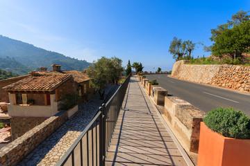 Pavement road mountain traditional houses, Deia village, Majorca