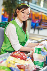 Shopping. Cashdesk worker in supermarket
