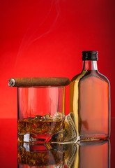 glass, money and whisky bottle