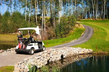 Golf-cart car on bridge in golf course