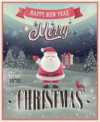 Wall Mural - Christmas Poster with Santa. Vector illustration.