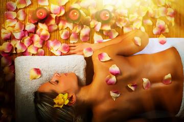 Wall Mural - Beautiful woman having massage.