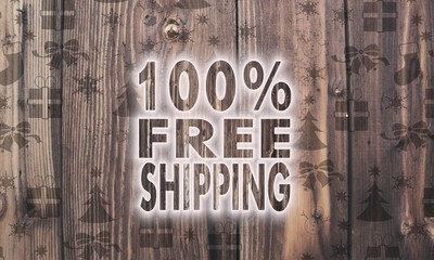 wooden 100 percent freeshipping label with presents
