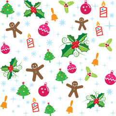 Colorful christmas elements pattern, vector format