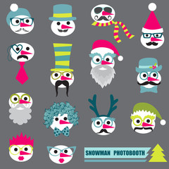 Photobooth Snowman Party set - Glasses, hats, lips, mustache, ma