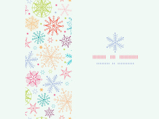 vector Colorful Doodle Snowflakes Horizontal Frame Seamless
