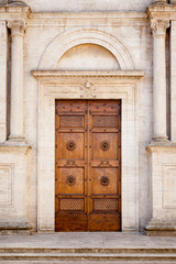 Wooden Door in Pienza Italy