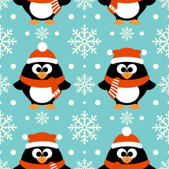 New Year seamless background with funny penguin